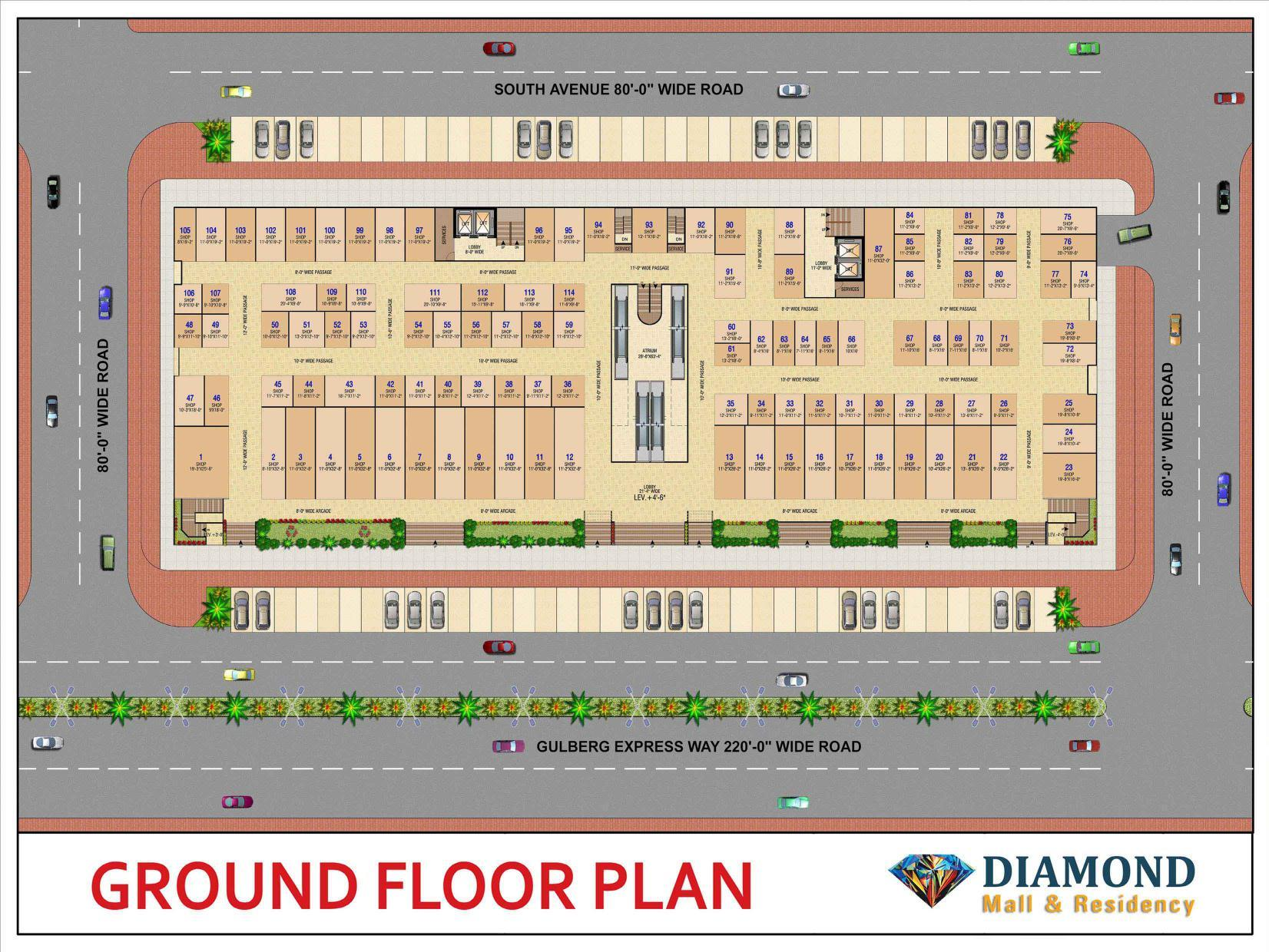 Diamond Mall Gulberg Ground Floor Plan