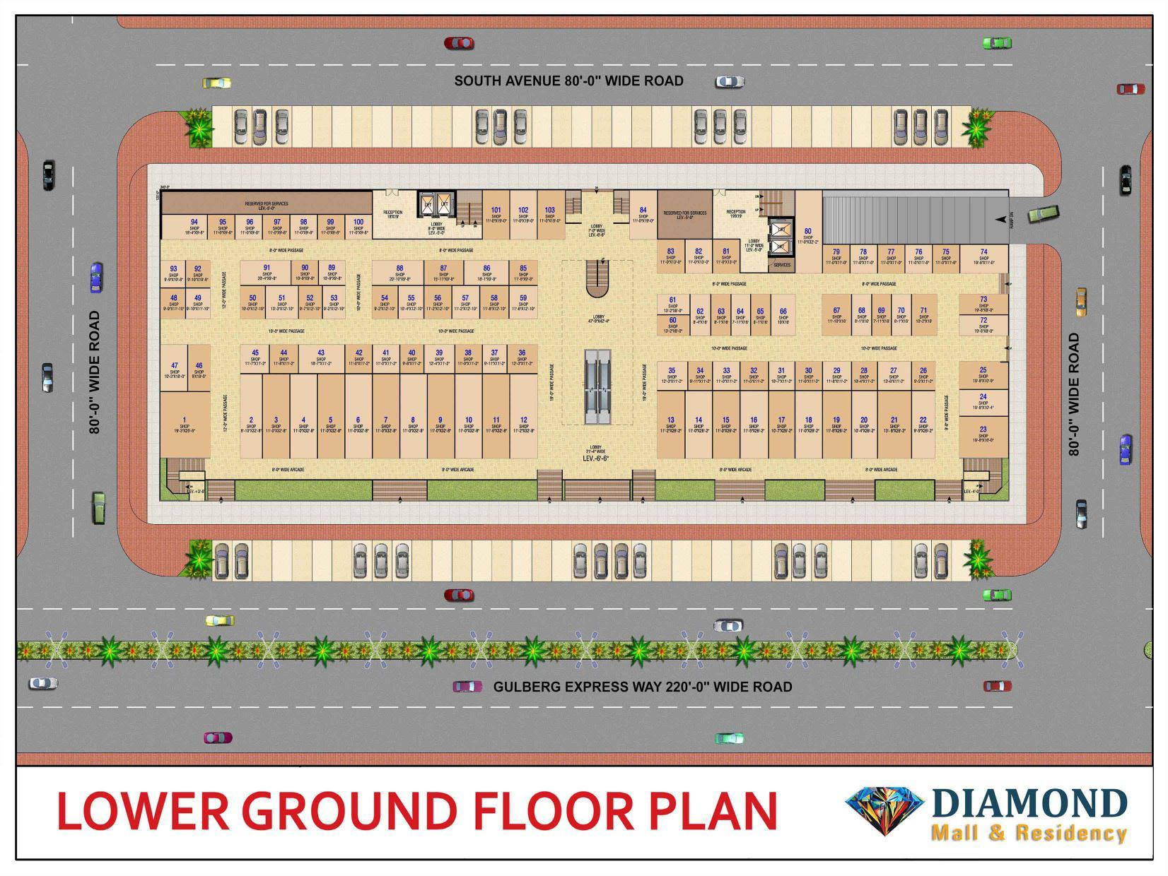 Diamond Mall Gulberg Lower Ground Plan