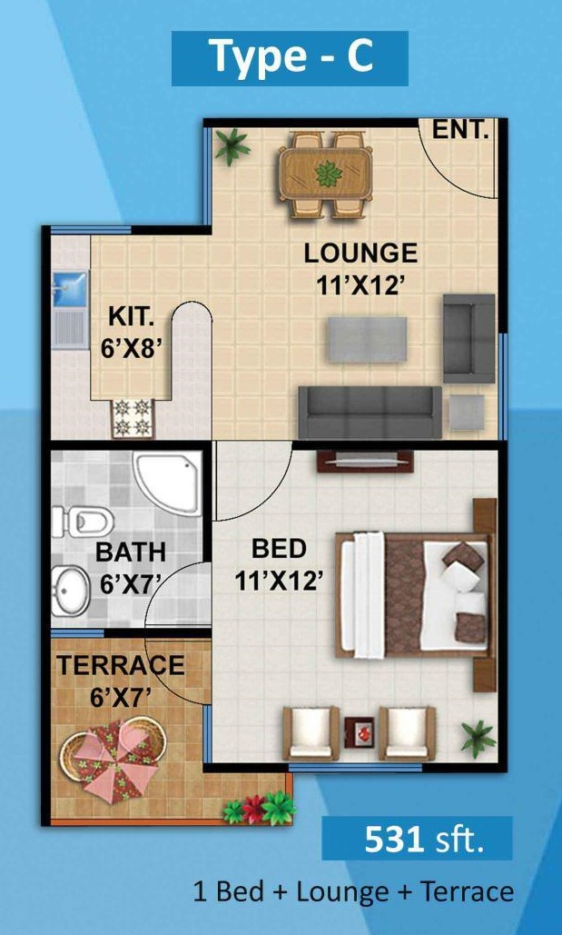 Plan 1 Bed C Apartment Diamond Mall