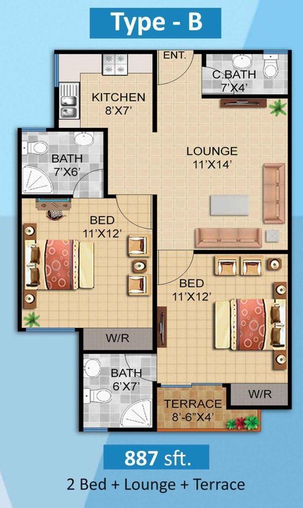 Plan 2 Bed B Apartment Diamond Mall