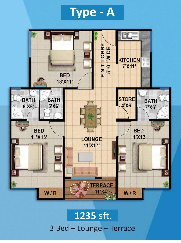 Plan 3 Bed A Apartment Diamond Mall