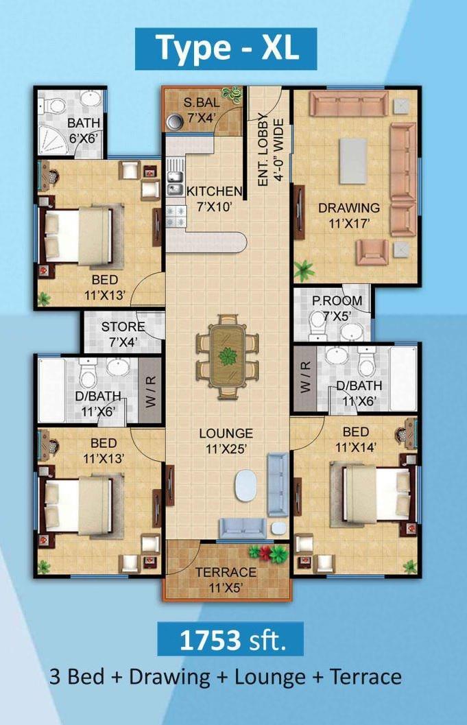 Plan 3 Bed XL Apartment Diamond Mall